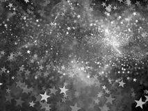 Glowing star bokeh background black and white texture Royalty Free Stock Image