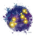 Leo Zodiac Sign with Watercolor Textured Stain. vector illustration