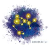 Sagittarius Zodiac Sign with Watercolor Textured Stain. vector illustration