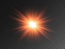 Free Glowing Star On Transparent Backdrop. Orange Burst With Bright Glitter And Glare. Christmas Light Effect. Big Energy Stock Photo - 165407090
