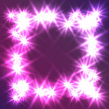 Glowing Star square frame. Design of a celebratory banner or postcard. It can be used as an effect in the photo. Stock Photo