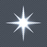 Glowing Star on Transparent Background Vector. Glowing star with eight rays. Vector illustration on transparent background. Design element with light effect royalty free illustration