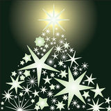 Glowing stars christmas tree Stock Photography