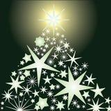 Glowing stars christmas tree Stock Photography