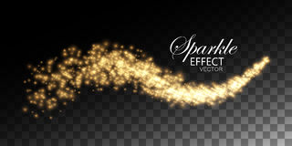 Glowing stream of sparkles and light rays stock illustration