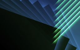 Glowing stripes. 3d illustration background. Abstract blue green cg background, geometric pattern of glowing stripes. 3d illustration Stock Images