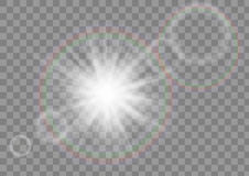 Glowing sun rays sparkle star with lens flare effect on transparent vector background. Eps10 Stock Photography