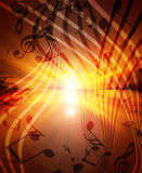 Glowing sunset with musical. Notes Stock Image