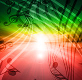 Glowing sunset with musical royalty free illustration