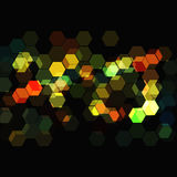 Glowing Technical Design. Glowing hexagons on black background royalty free illustration