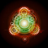 Glowing Techno Gears. Celestial Glowing Techno Gears Planetary Concept Royalty Free Stock Photos