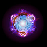 Glowing Techno Gears. Celestial Glowing Techno Gears Planetary Concept Stock Images