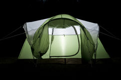 Glowing Tent at Night Stock Photography