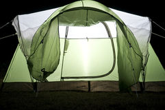 Glowing Tent at Night Stock Photo