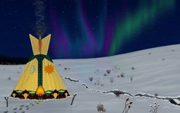 Glowing Tepee and the Aurora Borealis. Royalty Free Stock Images