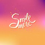 Glowing Text Design for Smile More Concept Royalty Free Stock Photography
