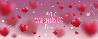 Glowing text for Happy Valentines Day greeting card. Cute love banner for 14 February. vector illustration
