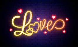 Glowing text Love with heart shapes. Glowing text Love with heart shapes on blue brick wall vector illustration