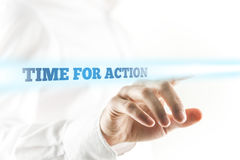 Glowing Time for Action Texts Above Human Hand stock photography