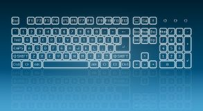 Glowing touch screen keyboard Stock Photos