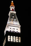 Glowing Tower. Steeple of building at night in NYC Royalty Free Stock Photography