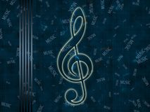 Glowing treble clef Stock Image