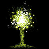 Glowing tree. An abstract floral illustration of a glowing tree in green color on a black background Royalty Free Stock Photography
