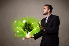 Glowing tree growing in the hand of a businessman Royalty Free Stock Image