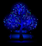 Glowing  tree with music notes Stock Photos