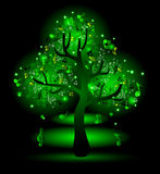 Glowing  tree with music notes Stock Image