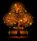 Glowing  tree with music notes Royalty Free Stock Photo