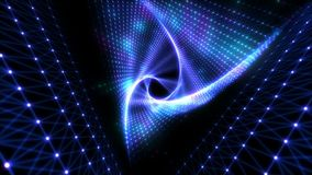 Glowing Triangle Tunnel. Abstracts Futuristic Background. Triangle future space tunnel for music videos, audiovisual show, performance and night clubs stock footage