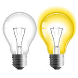 Glowing and turned off light bulb stock illustration