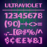 Glowing Ultraviolet Neon Numbers Royalty Free Stock Image