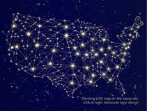 Map Of Usa At Night.Glowing Usa Map On The Starry Sky Stock Vector Illustration Of
