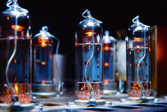 Glowing vacuum electron tubes. Of vintage guitar amplifier Royalty Free Stock Images