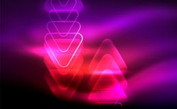 Glowing vector triangle geometric shapes in dark space. Glowing vector triangle geometric shape in dark spaces. Vector abstract background Stock Images