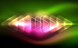 Glowing vector triangle geometric shapes in dark space. Glowing vector triangle geometric shape in dark spaces. Vector abstract background Stock Photo