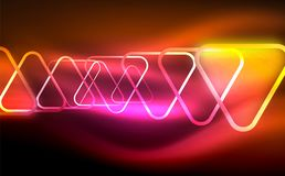 Glowing vector triangle geometric shapes in dark space. Glowing vector triangle geometric shape in dark spaces. Vector abstract background Royalty Free Stock Photos
