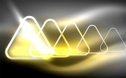 Glowing vector triangle geometric shapes in dark space. Glowing vector triangle geometric shape in dark spaces. Vector abstract background Royalty Free Stock Photo
