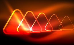 Glowing vector triangle geometric shapes in dark space. Glowing vector triangle geometric shape in dark spaces. Vector abstract background Stock Image