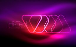 Glowing vector triangle geometric shapes in dark space. Glowing vector triangle geometric shape in dark spaces. Vector abstract background Royalty Free Stock Photography