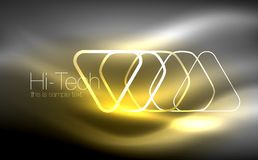 Glowing vector triangle geometric shapes in dark space. Glowing vector triangle geometric shape in dark spaces. Vector abstract background Royalty Free Stock Images