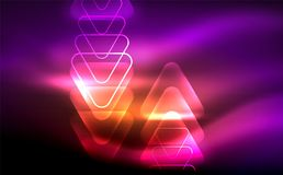Glowing vector triangle geometric shapes in dark space. Glowing vector triangle geometric shape in dark spaces. Vector abstract background Stock Photography