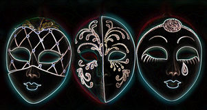Glowing Venetian Masks Stock Image