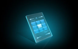 Glowing virtual tablet with buttons on screen Stock Photos