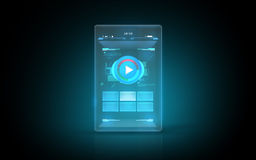 Glowing virtual tablet with buttons on screen Royalty Free Stock Photo