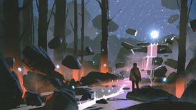 The glowing waterfall in enchanted forest. Man looking at the glowing light ball floating above waterfall in enchanted forest, digital art style, illustration royalty free illustration