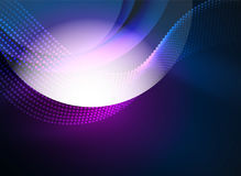 Glowing wave created with particles on dark color background Royalty Free Stock Image