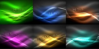 Glowing wave lines background collection, abstract backgrounds. Vector illustration Stock Photo